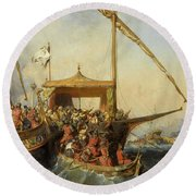 Bataille Navale D'embro Round Beach Towel by Eugene Lepoittevin