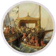 Bataille Navale Remportee Devant L'ile D'embro, 1346 Round Beach Towel by Eugene Lepoittevin