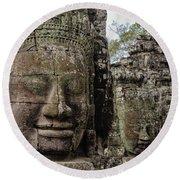 Bayon Faces, Angkor Wat, Cambodia Round Beach Towel