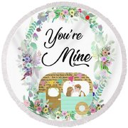 Be In Love Round Beach Towel