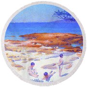 Beach At Cabasson - Digital Remastered Edition Round Beach Towel