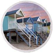 Beach Huts Sunset Round Beach Towel