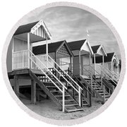 Beach Huts Sunset In Black And White Square Round Beach Towel