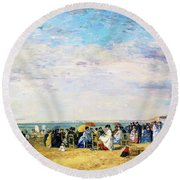 Beach Of Trouville - Digital Remastered Edition Round Beach Towel