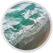Beach Waves From Above Round Beach Towel