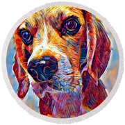 Beagle 3 Round Beach Towel