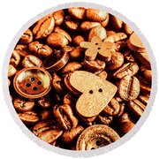 Beans And Buttons Round Beach Towel