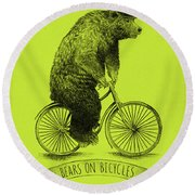 Bears On Bicycles - Lime Round Beach Towel