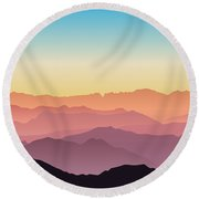 Beautiful And Colorful Mountains Round Beach Towel