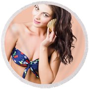 Beautiful Beach Babe Over Studio Background Round Beach Towel