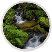 Beautiful Cascades Of Lee Falls Round Beach Towel