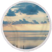 Beautiful Clouds Over Pamlico Sound Round Beach Towel