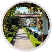 Beautiful Courtyard Getty Villa  Round Beach Towel