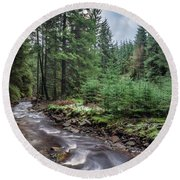 Beautiful Ethereal Style Landscape Image Of Small Brook Flwoing  Round Beach Towel