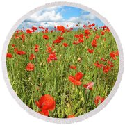 Beautiful Fields Of Red Poppies Round Beach Towel