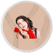 Beautiful Pinup Girl Holding Candy. Sweet Heart Round Beach Towel
