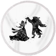 Beauty And The Beast Dancing Round Beach Towel