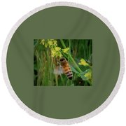 Bee And Flower Round Beach Towel
