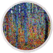 Beech Grove Abstract Expressionism Round Beach Towel