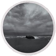 Before Storm Bw Round Beach Towel