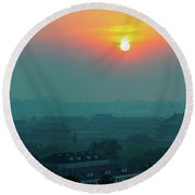 Beijing Forbidden City Sunset Panorama Round Beach Towel