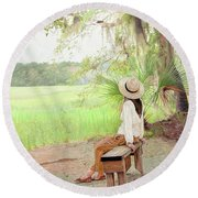 Being In Your Own Company Round Beach Towel