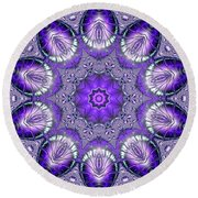 Bejeweled Easter Eggs Fractal Abstract Round Beach Towel by Rose Santuci-Sofranko