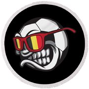Belgium Angry Soccer Ball With Sunglasses Fanshirt Round Beach Towel