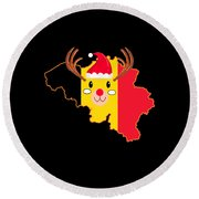 Belgium Christmas Hat Antler Red Nose Reindeer Round Beach Towel