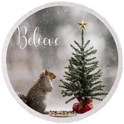Believe Christmas Tree Squirrel Square Round Beach Towel