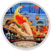 Bellagio Conservatory Falling Asleep Display Wide 2018 2.5 To 1 Aspect Ratio Round Beach Towel