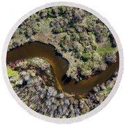 Betsie River Curve Round Beach Towel