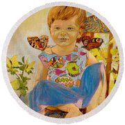 Bianka And Butterflies Round Beach Towel