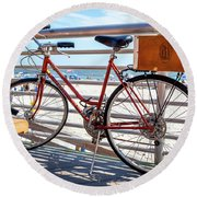 Bicycle At The Beach Round Beach Towel