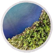 Big Bay Bear Lake Aerial Round Beach Towel