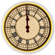 Big Ben Midnight Clock Face Round Beach Towel
