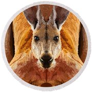 Big Boy Red Kangaroo   Round Beach Towel