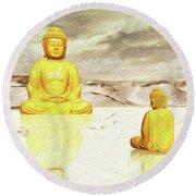Big Buddha, Little Buddha Round Beach Towel