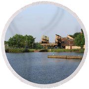 Big Chute Marine Railway, Trent Severn Waterway, Ontario Round Beach Towel