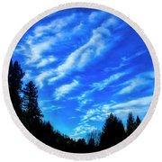 Big Sky And Trees Round Beach Towel
