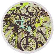 Bikes And City Routes Round Beach Towel