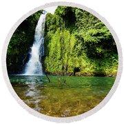 Bioko Waterfall Round Beach Towel