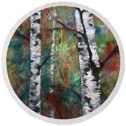 Birch Portrait I Round Beach Towel