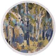 Birch Trees Along The Pond De Melle Round Beach Towel