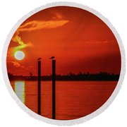 Bird On A Pole Sunrise Round Beach Towel