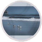 Birds And Waves Round Beach Towel