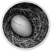 Birds Nest Black And White Round Beach Towel by Edward Fielding