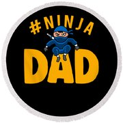 Birthday Ninja Party Dad Apparel Round Beach Towel