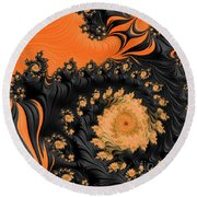 Black And Orange  Swirls Round Beach Towel
