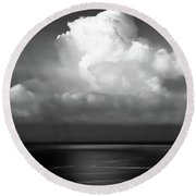 Black And White Clouds - Panorama Round Beach Towel